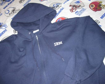 80s IBM full zip HOODIE - sz xxl - hooded sweatshirt computer nerd apple atari