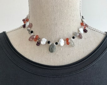 Sapphire One of a Kind Statement Necklace | Choker  Beaded Gemstone Necklace | Gemstone Original Necklace | Sapphire | Choker