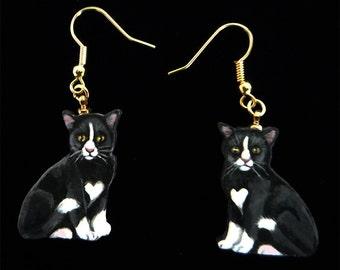 Black and White Kitten/Cat Earrings