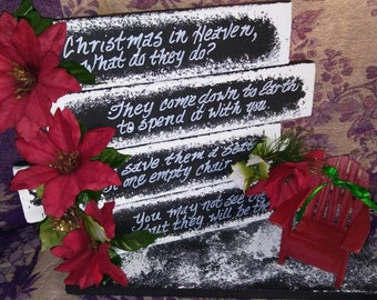 Christmas In Heaven, Christmas Display, Sympathy Gift, Memorial Display, Christmas Decor, Empty Chair Poem, Memorial, Sympathy, christmas