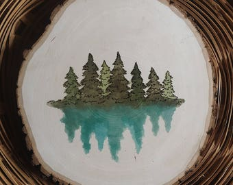 Forest Watercolor and Wood Burned Wood Slice