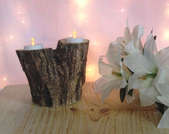 Log candle holder, Rustic candle holder, Wood tealight holder, Wooden candle holder, Rustic decor, Rustic wedding decor