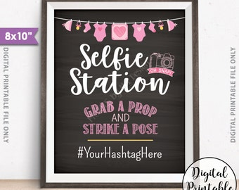 """Selfie Station Sign, Baby Shower Sign, Baby Shower Hashtag Sign, Pink Baby Shower Decor, Shower Activity, 8x10"""" Chalkboard Style Printable"""