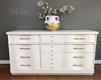 SOLD ***White Mid Century Dresser