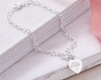 Personalised Sterling Silver Heart Charm Bracelet (HBB47 / 01)