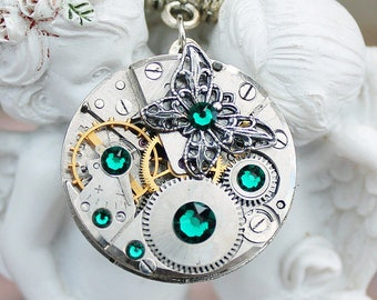 Steampunk necklace, butterfly necklace, steampunk jewelry, swarovski necklace