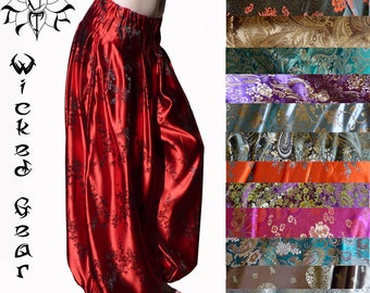 Your color choice THREE yard CUSTOM fit brocade belly dance pantaloons harem pants tribal dance pants bloomers ATS pantaloons your size