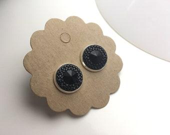 """Cabochon earrings """"little black dress"""" silver"""