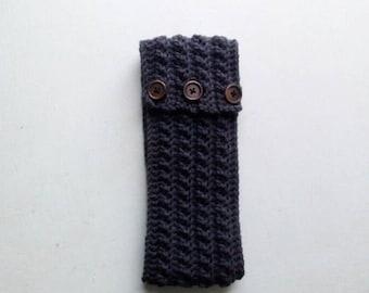 Dark grey crochet Earwarmer. Headwrap. Criss Cross Headband. Child -Adult size extra wide ear warmer.