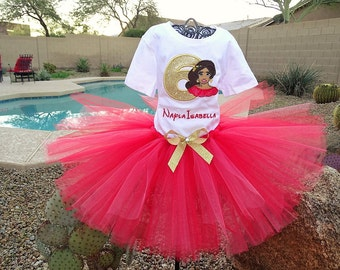 Personalized Princess Elena tutu outfit, Birthday outfit. Halloween costume