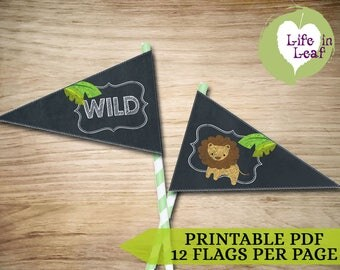 Zoo/Safari Drink Flags ~ INSTANT DOWNLOAD