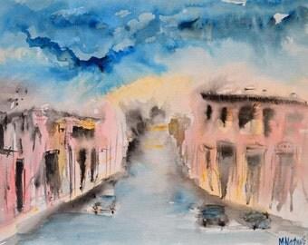 Original Watercolour Landscape Painting of a scene in Aleppo Syria