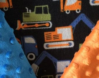 Customized, Personalized Children's/Pet Blanket - Construction Trucks