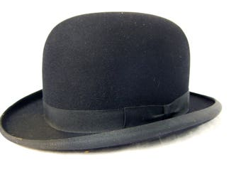 Black Bowler Hat, Mans Dress Wool Hat, Black Felt Derby Hat, Vintage Bowler Hat