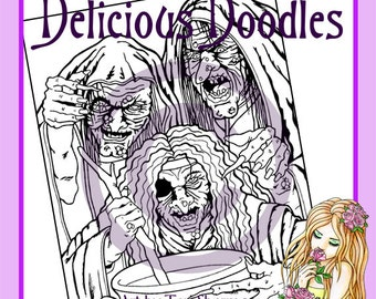 Digital Stamp, Colouring Page - 3 Wicked Witches
