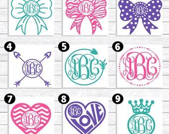 Custom Monogram Decal, Personalized Monogram Decal, Vinyl Monogram, Personalized Decal, Heart Monogram, Bow Monogram, Custom Arrow Decal