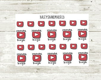 Youtube Binge/Icon Stickers (hand drawn)