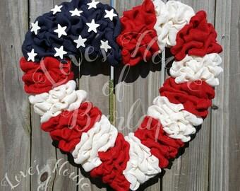 Burlap wreath, Fourth of July wreath,  4th of July wreath, Patriotic Wreath,  Memorial Day Wreath, American Flag wreath,Spring wreath