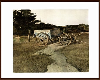 "Andrew Wyeth Painted the Blue Dump. The page is approx. 16 3/4 inches wide and 13 inches tall. The image is 10"" wide and 8 1/4 tall."
