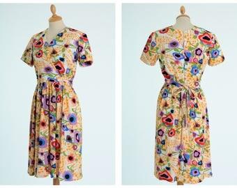 Vintage 1970s psychedelic floral print jersey dress - size S/M