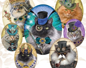 Octopunx Steampunk Cats 1 Oval 30x40mm 22x30mm 18x25mm Digital Collage Sheets 36 Designs