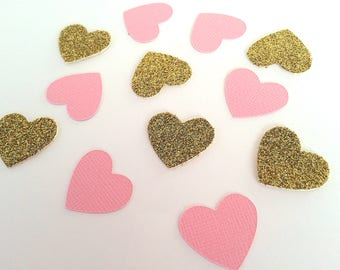 Heart Confetti. Perfect for weddings, parties, bridal showers, birthdays, engagement parties, baby showers. Pink and Gold. Glitter confetti.
