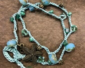 "16"" Crocheted Double Wrap Bracelet or Choker Length Necklace."