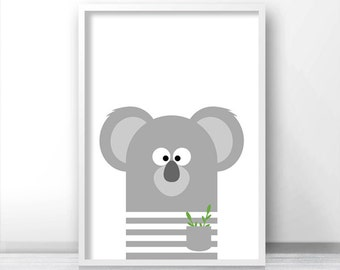 Koala Nursery Print, Digital Download, Animal Print, Instant Download Printable Nursery Art, Animal Nursery Wall Art, Kids Print, Kids Decor
