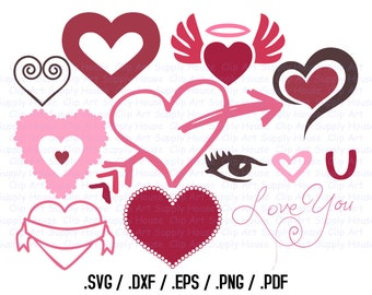 Valentine Heart SVG Clipart, SVG Office Wall Art, DXF Holiday File, Vinyl Cutters, Screen Printing, Silhouette, Vinyl Cutting Clipart -CA412