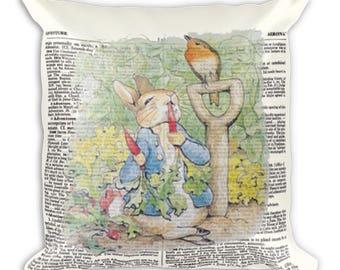 Peter Rabbit Pillow - Peter Rabbit Nursery Decor - Children's Stories - Bunny Rabbit - Peter Rabbit illustration - Vintage Dictionary Art