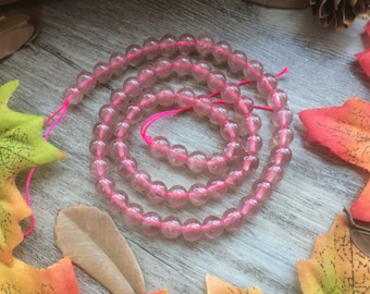 """6mm Pink Rose Quartz Gemstone Loose Beads For Jewelry Necklace Spacer Beads Charms  15"""" inches"""