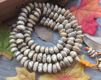 1 strand 108pc Original Natural Lotus Seeds Bodhi Beads Semi-circle Irregular Meditation Buddhist Japa Mala Necklace
