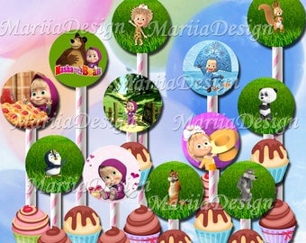 Masha and the Bear Cupcake toppers, Masha and the Bear Birthday Party Printable, Masha and the Bear Party Supplies, Masha Labels - ONLY FILE