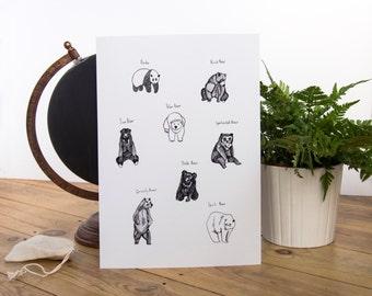 All the Bears Illustration A4 Print // Panda, Polar Bear, Black Bear, Grizzly Bear, Spirit Bear, Sun Bear, Sloth Bear, Spectacled Bear