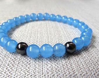 Sky blue gemstone beaded bracelet. Elastic, easy on bracelet.