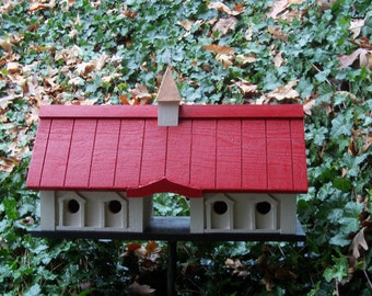 New Classic Horse Barn Birdhouse with Red Roof