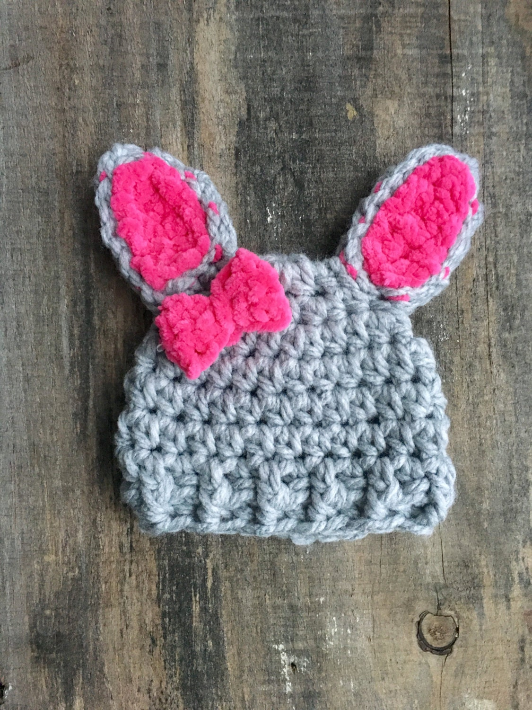 Crochet Bunny Hat Pink Bunny Hat Knit Bunny Hat Crochet Baby