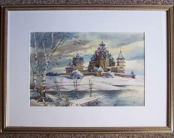 Original Watercolor - Church of the Transfiguration & Intercession Church - Kizhi Island, Republic of Karelia, Russia - UNESCO Heritage Site