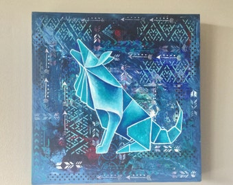 Howling Wolf - Origami inspired painting