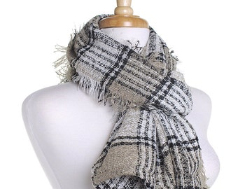 Beige Infinity Knit Scarf / Checked Circle Scarf / Autumn Scarf / Gift for Her / Eternity Scarf / Warm Shawl / Winter Wrap / Tartan Check