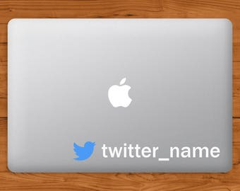 Your own custom Twitter Account name Decal Sticker - Laptop, Window, Car Sticker
