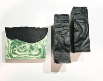Date Night Soap, Men's Soap, Cold Process Soap, Clean Soap, Sage Soap, Homemade Soap, Handmade Soap, Summer  Soap, Mint Soap, Charcoal Soap