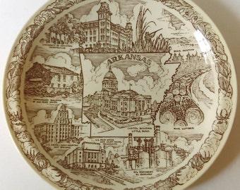 Vintage Souvenir State Plate: Arkansas, Vernon Kilns, Discounted/AS IS, State Memorabilia, Collectible, 1943s, Travel, Kitsch, Road Trip