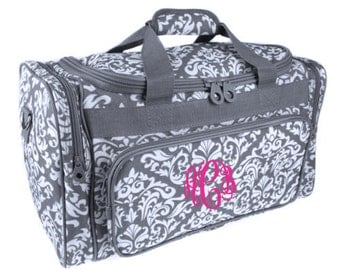 Monogram Gray Diamond Damask 20 In. Duffle