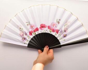 Handpainted fan / FLOWERS handfan / Bridal handfan / wedding handfan / Wooden handfan / silk handfan / Spanish handfan / romantic fan