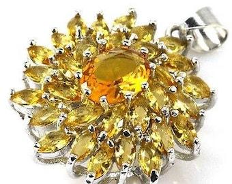 Handmade Natural Citrine 925 Sterling Silver Pendant Necklace - Fine Art Pendant Necklace - Natural Stone Citrine Necklace