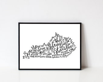 Hand lettered THE BLUEGRASS STATE Kentucky Work Art Print // 8x10