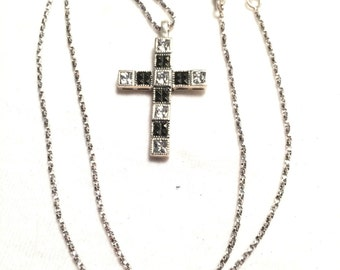 925 sterling silver necklace cross with cz
