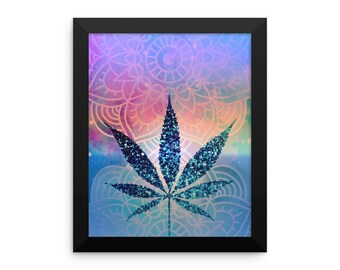 Framed Pot Leaf Art Print Tie Dye Blue Yoga Meditation Mandala Art