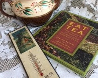 Sadler Staffordshire England redware teapot, EAT TEA book, and tea co advertising thermometer vintage, primitive or country grouping